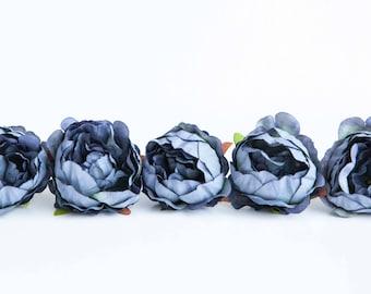 5 Mini Peonies in Antique Blue - Silk Artificial Flowers - ITEM 01214