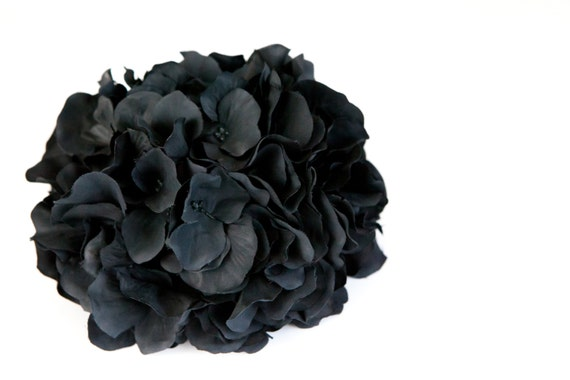Over 90 hydrangea petals in black silk flowers artificial etsy image 0 mightylinksfo