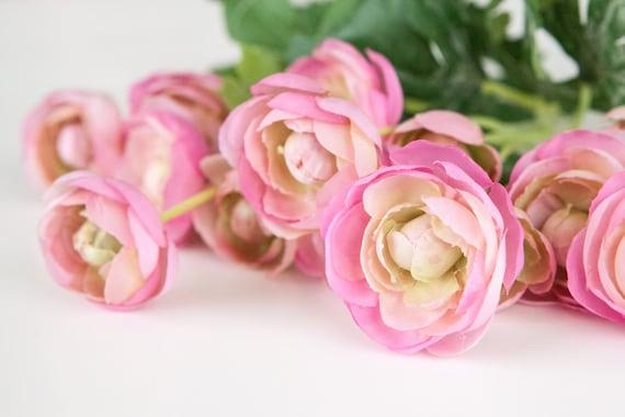 15 small mini pink ranunculus silk flowers artificial etsy image 0 mightylinksfo