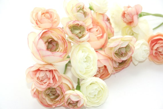 20 mini ranunculus in peachy pink tones and white silk etsy image 0 mightylinksfo