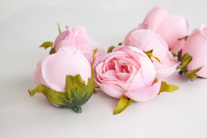 LESS Than PERFECT- ITEM 0957 Silk Artificial Flowers Set of 9 Small to Medium Cabbage Roses in Pink Silk Artificial Flowers