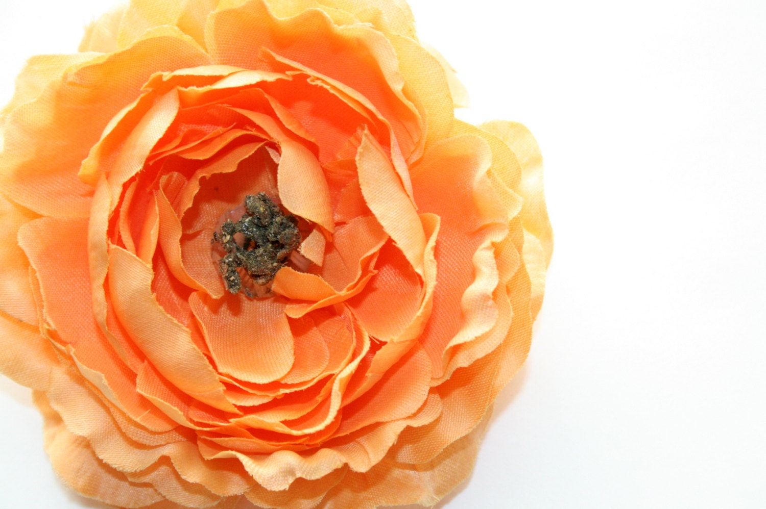 Ruffle Ranunculus In Coral 4 Inches Silk Flower Etsy