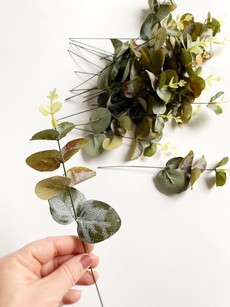 Fake Succulents Succulents ITEM 01299 20 Artificial Eucalyptus Stems in Green and Burgundy Tones Eucalyptus Succulent