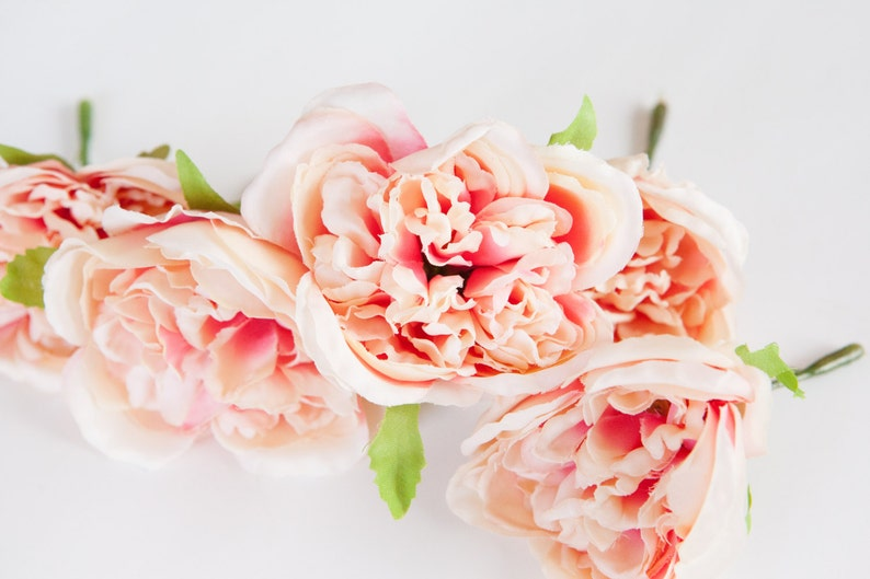 005 silk roses 5 Fully Bloomed Vintage Inspired Shabby Chic Pink and Cream Cabbage Roses ITEM