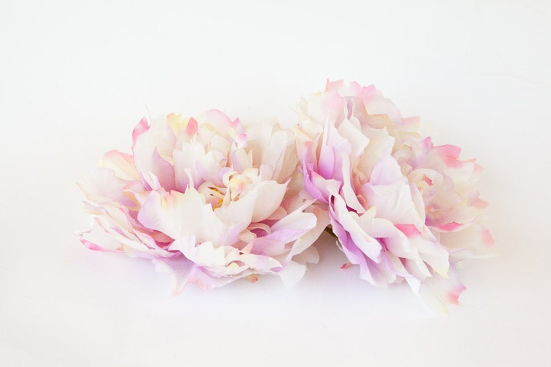ITEM 0599 Artificial Silk Flower EXTRA LARGE Ivory and Pink Tones Peony 7 inches