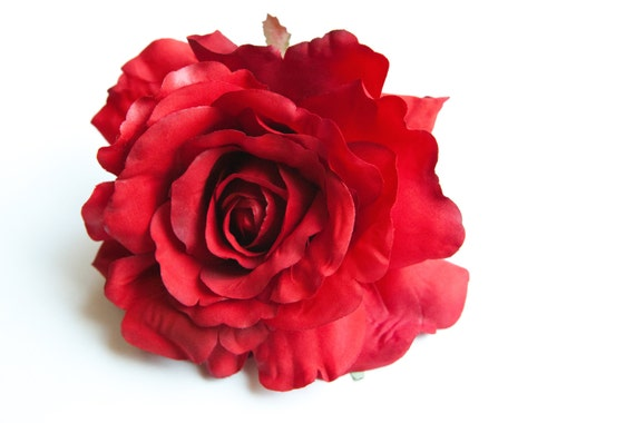 Silk Flowers Artificial Flowers PRE-ORDER With or Without Stem 1 Large Deep Red Georgia Rose