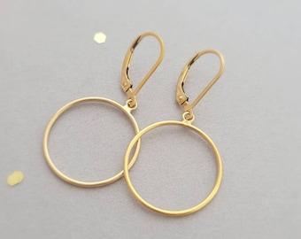 14k yellow gold filled open hoop earring earrings, french wire, or leverback, circle earrings