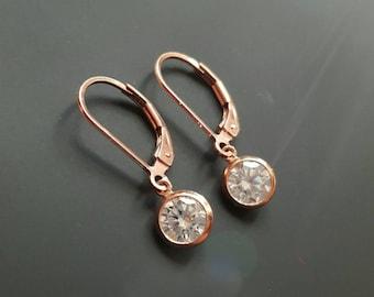 14k Rose Gold Filled CZ Earrings