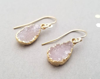 Gold Earrings with Pink Druzy