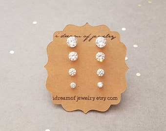 Gift Set - 14k Gold Filled or Sterling Silver and CZ Stud Earrings