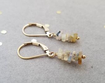 Stacked Opal Bead Earrings