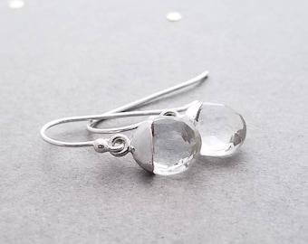Faceted Crystal Quartz Earrings