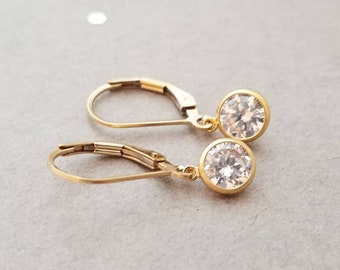 638689edc7e022 Tiny 14k yellow gold filled earrings- round CZ crystal, clear, leverback or  french wire