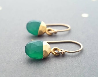 elegant lux combination Green onyx gold earrings style everyday to event 14kt gold-fill with genuine stones Let Loose Jewelry handmade