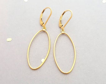 14k yellow gold filled long oval earring, french wire, or leverback