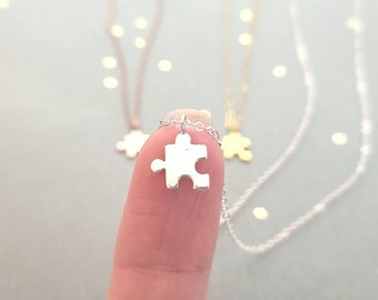 Tiny Puzzle Piece Necklace in Sterling Silver, 14k Yellow Gold Filled, or 14k Rose Gold Filled chain