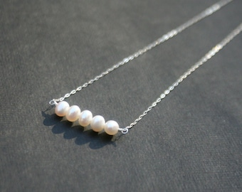 Sterling Silver Necklace with Freshwater Pearls - also available in 14k Yellow and Rose Gold Filled