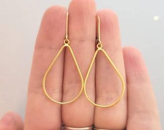 14k yellow gold filled open teardrop earring earrings, french wire, or leverback