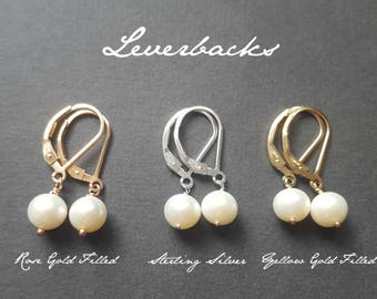 Pearl Earrings in 14k Rose Gold Filled, Sterling Silver, or 14k Gold Filled