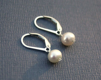 Freshwater Pearl Earrings - Sterling Silver, 14k Gold Filled, 14k Rose Gold Filled