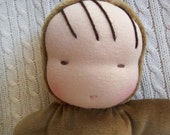 waldorf inspired doll-brown baby with blankie