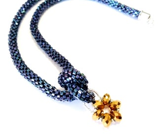 Metallic cosmos blue glass cube beads necklace