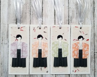 Handmade origami male paper doll bookmarks, party favors, souvenir - Set of 4