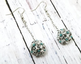 Handmade SuperDuo glass bead flower earrings - silver and green, hypoallergenic surgical stainless steel