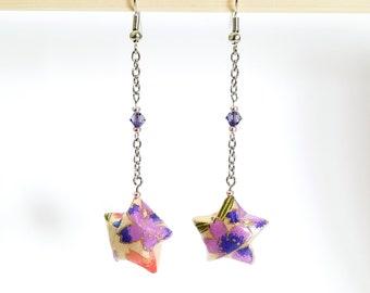 Origami paper lucky star earrings - beige and purple, nickel free