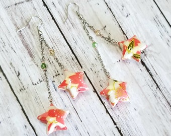 Origami paper lucky star earrings - pink and white, nickel free