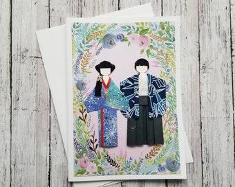 Origami couple kimono paper doll greeting card 5 x 7 inches