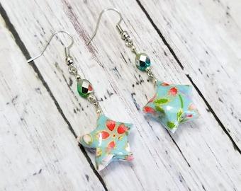 Origami paper lucky star earrings - blue nickel free