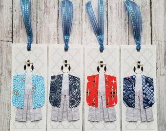 Handmade Samurai origami paper doll bookmarks, party favors, souvenir - Set of 4