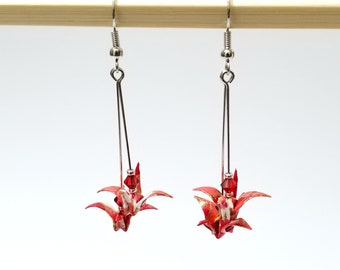 Origami paper crane earrings - red, small, nickel free