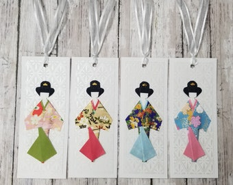 Handmade origami kimono girl paper doll bookmarks, party favors, souvenir - Set of 4