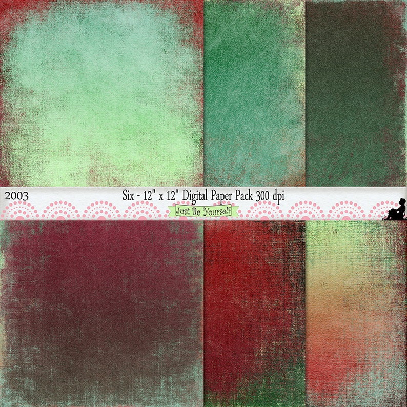 12 x 12 inch Grungy Green and Red Painted Scrapbook Papers Instant Download  Set of 6 Digital Background Prints JPEG Commercial Use 2003