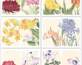 Distressed Spring Flowers Art Journal Papers Instant Download Set of 6 - 11 x 8.5 inch Digital Sheets JPEG & PDF Commercial Use 1831