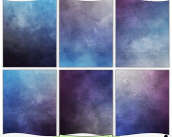 Grungy Purple and Blue Sunset Digital Prints - Instant Download Set of 6 - 8.5 x 11 inch Printable Papers JPEG and PDF Commercial Use 1216