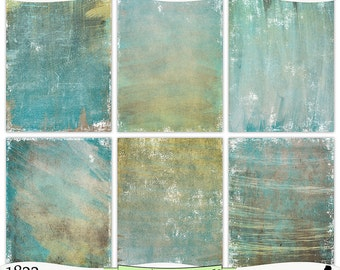 Distressed Brown Gold Turquoise Painted Digital Printable Papers Instant Download Set of 6 - 8.5 x 11 inch JPEG & PDF Commercial Use 1822