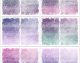 Distressed Teal Pink Purple Printable Digital Art Journal Papers Instant Download Set of 6 - 11 x 8.5 inch JPEG & PDF Commercial Use 1878