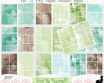 Digital Fauxdori Papers Green Blue Brown Instant Download Set of 10 - 11 x 8.5 inch Printable Papers (20 layouts/pages) JPEG & PDF 2037