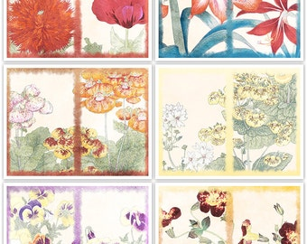 Shabby Flowers Art Journal Papers Instant Download Set of 6 Digital - 11 x 8.5 inch Printable Sheets JPEG & PDF Commercial Use 1834