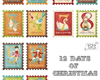 12 Days of Christmas Greeting Card Fronts 12 images on Set of THREE Printable 8.5 x 11 inch Sheets -  PDF & JPEG included (1513)