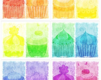 Distressed Cupcakes Digital DIY Art Journal Prints Instant Download Set of 6 - 11 x 8.5 inch Printable Papers JPEG & PDF Commercial Use 1890