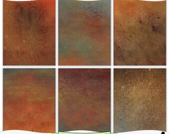 Grungy Copper Verdigris Digital Prints Instant Download Set of 6 - 8.5 x 11 inch Printable Papers JPEG & PDF Commercial Use 1487