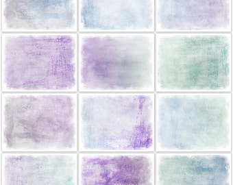 Shabby Purple Teal and Blue Digital Printable Art Journal Papers Instant Download Set of 12 - 11 x 8.5 inch JPEG & PDF Commercial Use 1801