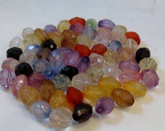 Assorted Color Faceted Round and Oval Acrylic Beads, Wholesale Bead Lots