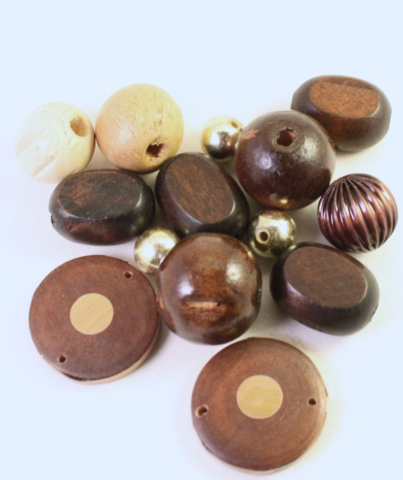 Tan and Gold Wood Mixed Shapes Wholesale Acrylic and Metal Beads Assorted  Dark Brown
