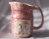 Vintage Pottery Craft Jug with Chickens
