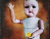 ON SALE OOAK, Creepy Cute French vintage doll Photo fused painted to Canvas, she 39 s holding a Yellow Smiley Face Sticker, ready to hang